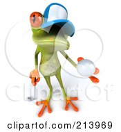 Royalty Free RF Clipart Illustration Of A 3d Springer Frog Looking Up And Holding A Golf Ball by Julos