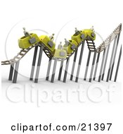 Clipart Illustration Of A Bumpy Yellow Roller Coaster Transporting Gray Businessmen With Briefcases