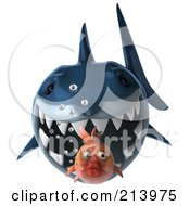 Royalty Free RF Clipart Illustration Of A 3d Blue Shark Swimming Forward And Chasing A Goldfish