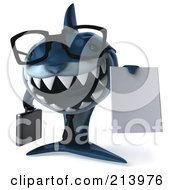 Royalty Free RF Clipart Illustration Of A 3d Blue Shark Businessman Holding A Blank Contract by Julos
