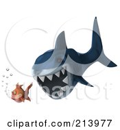 Royalty Free RF Clipart Illustration Of A 3d Blue Shark Swimming Left And Chasing A Goldfish