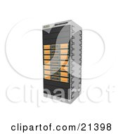 Clipart Illustration Of Orange Web Hosting Racks Of Server Towers by 3poD