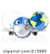 Royalty Free RF Clipart Illustration Of A 3d White Plane Character With A Yellow And Blue Globe