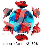 Royalty Free RF Clipart Illustration Of A 3d Globe Surrounded By Red Airplanes by Julos
