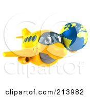 Royalty Free RF Clipart Illustration Of A 3d Yellow Plane Character With A Yellow And Blue Globe