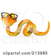 Royalty Free RF Clipart Illustration Of A 3d Orange Snake Wearing Glasses Over A Blank Sign by Julos