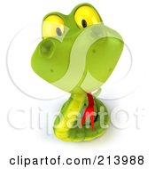 3d Green Snake Character Looking Upwards