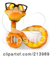 Royalty Free RF Clipart Illustration Of A 3d Orange Snake Wearing Glasses Coiled Over A Blank Sign by Julos