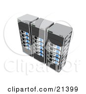 Row Of Three Gray And Blue Web Hosting Racks Of Server Towers