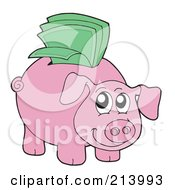 Royalty Free RF Clipart Illustration Of A Happy Piggy Bank With Green Cash In The Slot