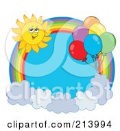 Royalty Free RF Clipart Illustration Of A Balloon And Summer Sun Rainbow Circle 1