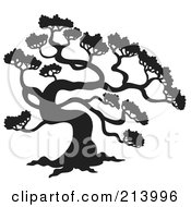 Royalty Free RF Clipart Illustration Of A Black And White Pine Tree Design