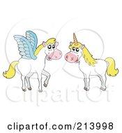 Digital Collage Of Pegasus And A Unicorn