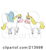 Royalty Free RF Clipart Illustration Of A Digital Collage Of Pegasus And A Unicorn by visekart