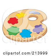 Royalty Free RF Clipart Illustration Of An Art Palette With Paints