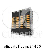 Two Orange Web Hosting Racks Of Server Towers
