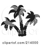 Royalty Free RF Clipart Illustration Of A Black And White Palm Tree Design