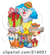 Royalty Free RF Clipart Illustration Of A Party Clown With A Dog And Cat Carrying A Birthday Gift