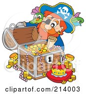 Royalty Free RF Clipart Illustration Of A Male Pirate Opening A Treasure Chest