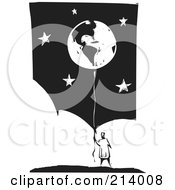 Royalty Free RF Clipart Illustration Of A Woodcut Styled Holding Onto A Balloon Globe Over A Starry Sky