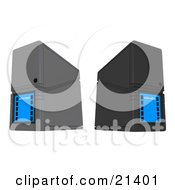 Clipart Illustration Of Gray And Black Computer Server Towers
