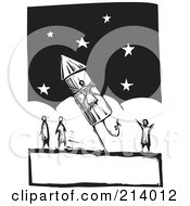 Royalty Free RF Clipart Illustration Of A Woodcut Styled Man Strapped To A Firework Rocket by xunantunich