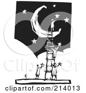 Royalty Free RF Clipart Illustration Of A Woodcut Styled Team With A Ladder Up To A Crescent Moon Applying Stars In The Sky