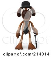 Royalty Free RF Clipart Illustration Of A 3d Brown Pooch Gentleman Dog Facing Front With An Umbrella