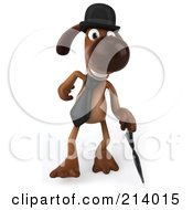 Royalty Free RF Clipart Illustration Of A 3d Brown Pooch Gentleman Dog Walking Forward With An Umbrella