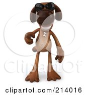 Royalty Free RF Clipart Illustration Of A 3d Brown Pooch Pointing Ouwards And Wearing Shades