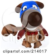 Royalty Free RF Clipart Illustration Of A 3d Brown Pooch Super Hero Flying Forward