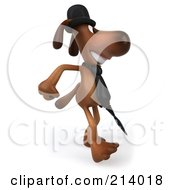 Royalty Free RF Clipart Illustration Of A 3d Brown Pooch Gentleman Dog Walking Right With An Umbrella