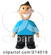 Royalty Free RF Clipart Illustration Of A 3d Casual Man Facing Front And Smiling His Arms At His Side by Julos