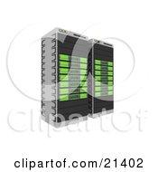 Web Hosting Racks Of Green Server Towers