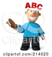 Royalty Free RF Clipart Illustration Of A 3d Casual Man Facing Front And Exposing His ABC Brain