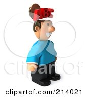 Royalty Free RF Clipart Illustration Of A 3d Casual Man Facing Right And Exposing His ABC Brain