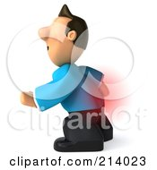 3d Casual Man Facing Left And Touching His Painful Back