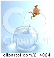 Royalty Free RF Clipart Illustration Of A 3d Goldfish Leaping From A Fish Bowl