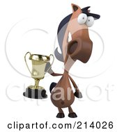 Royalty Free RF Clipart Illustration Of A 3d Charlie Horse Character Facing Front And Holding A Trophy
