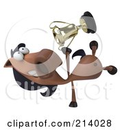Royalty Free RF Clipart Illustration Of A 3d Charlie Horse Character Doing A Hand Stand And Holding A Trophy