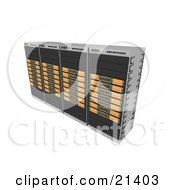 Clipart Illustration Of A Row Of Four Orange Web Hosting Racks Of Server Towers