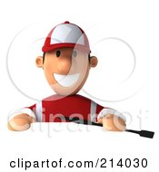 Royalty Free RF Clipart Illustration Of A 3d Jockey Man Smiling Above A Blank Sign by Julos