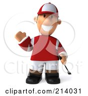 Royalty Free RF Clipart Illustration Of A 3d Jockey Man Facing Front And Smiling by Julos