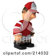 Royalty Free RF Clipart Illustration Of A 3d Jockey Man Facing Right And Pouting by Julos