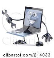 3d Black Laptop Character Facing Left And Holding A Wrench