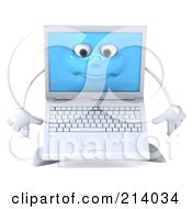 3d White Laptop Character Pouting And Facing Front