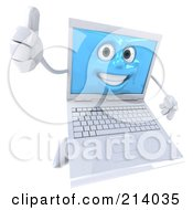3d White Laptop Character Holding A Thumb Up In The Air