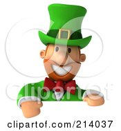 Royalty Free RF Clipart Illustration Of A 3d Leprechaun Man Smiling Over A Blank Sign