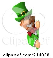 Royalty Free RF Clipart Illustration Of A 3d Leprechaun Man Smiling Around A Blank Sign