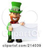 3d Leprechaun Man Holding A Blank Sign